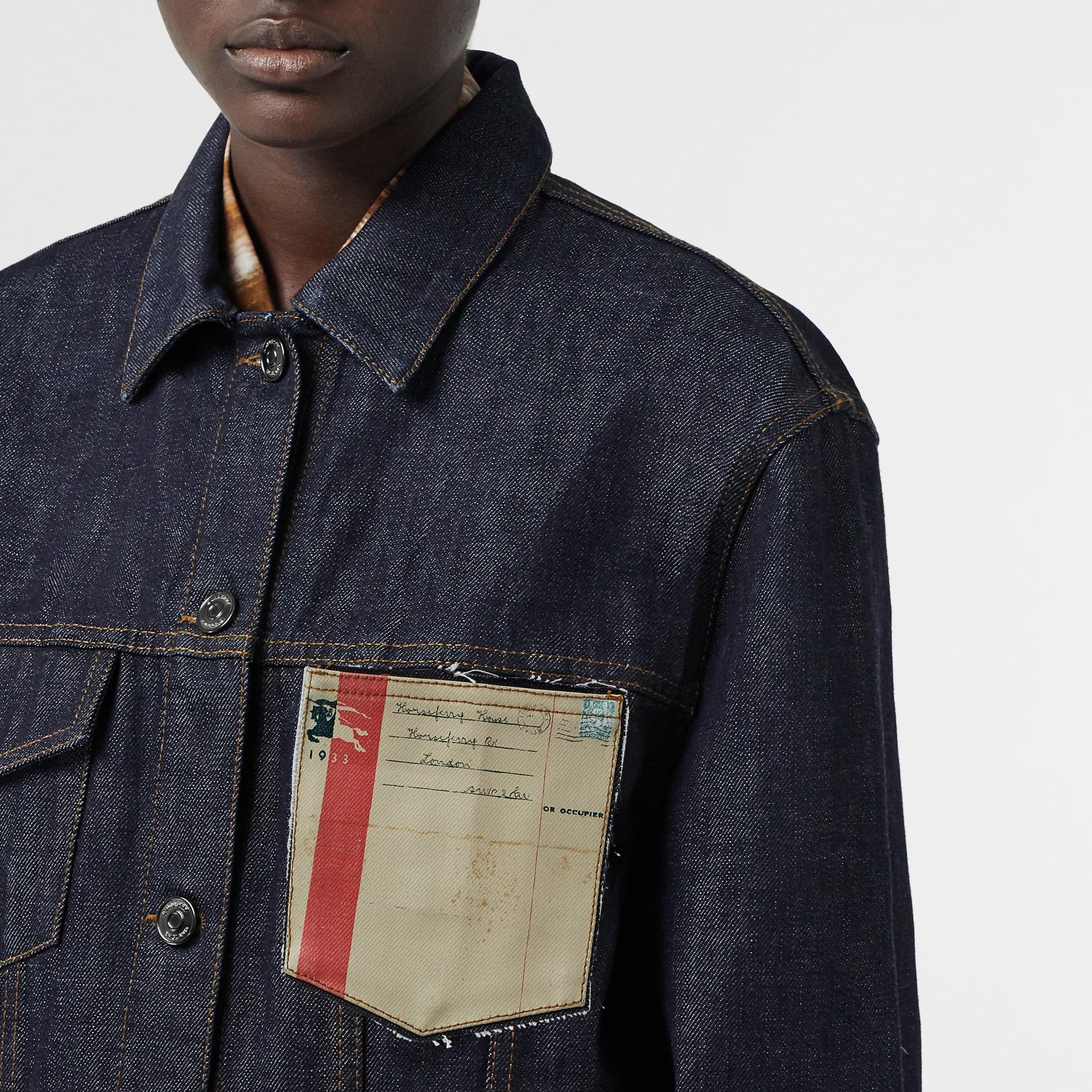 Postcard Motif Japanese Selvedge Denim Jacket in Indigo - Women | Burberry United States - gallery image 1