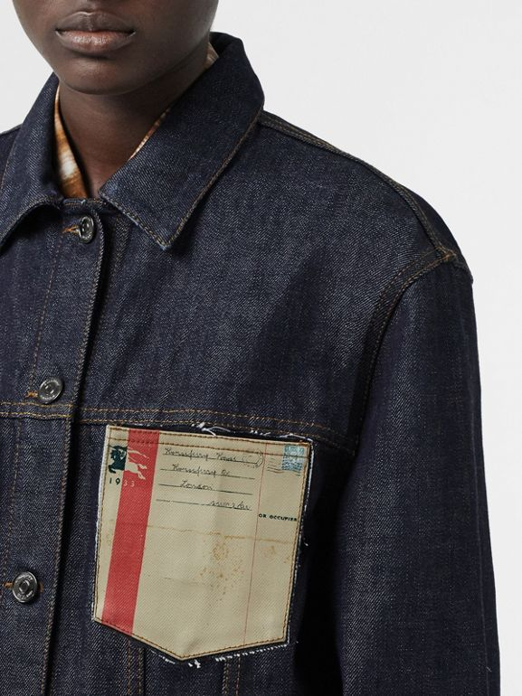 Postcard Motif Japanese Selvedge Denim Jacket in Indigo - Women | Burberry United States - cell image 1