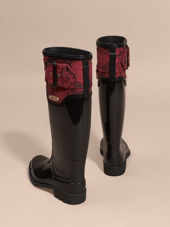 Black/windsor red Python Print Detail Rain Boots - cell image 2