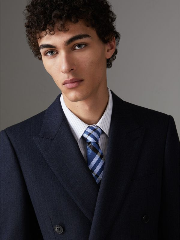 Modern Cut Check Silk Tie in Porcelain Blue - Men | Burberry - cell image 2