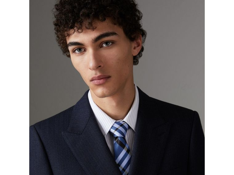 Modern Cut Check Silk Tie in Porcelain Blue - Men | Burberry United Kingdom - cell image 2