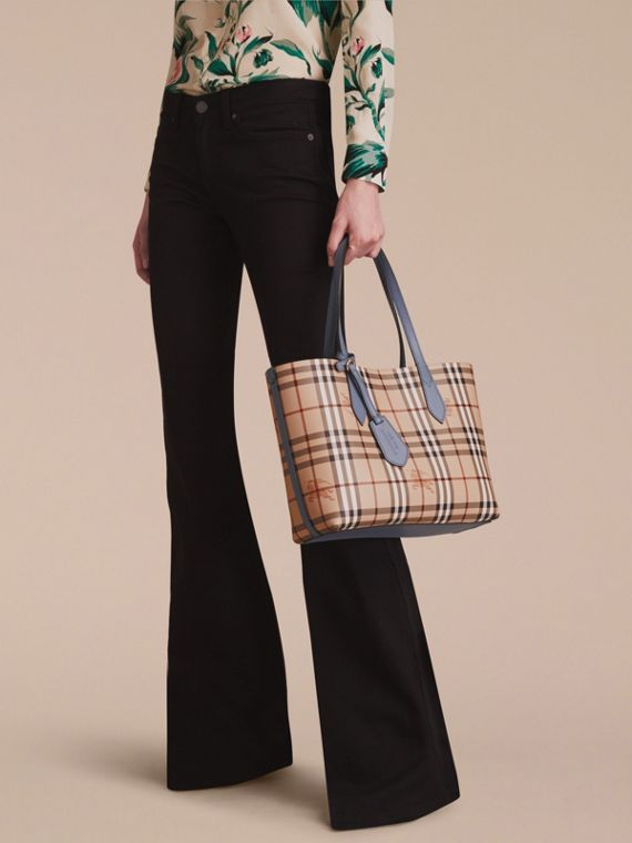 The Small Reversible Tote in Haymarket Check and Leather in Slate Blue - Women | Burberry - cell image 3