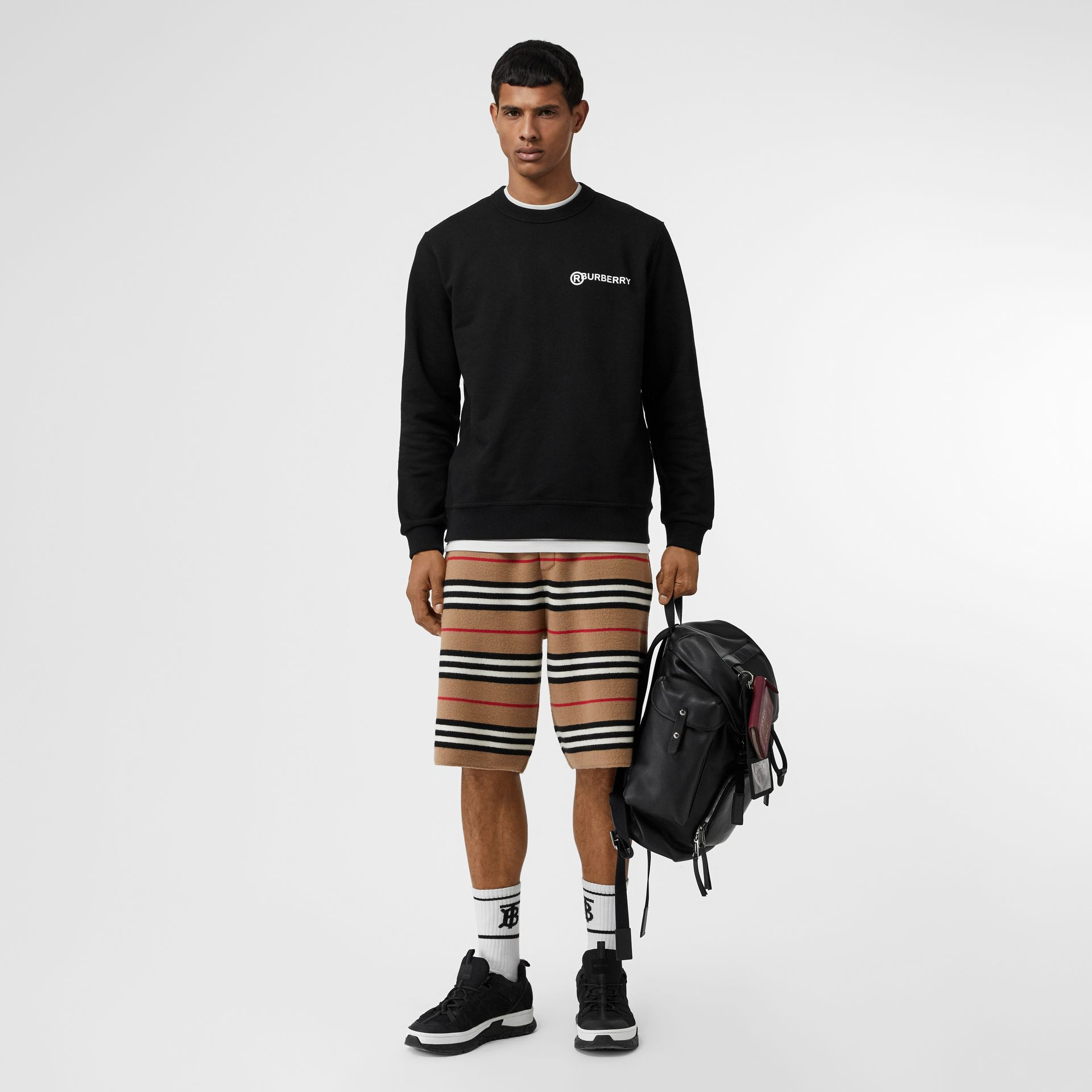 Logo Print Cotton Sweatshirt in Black - Men | Burberry Canada - gallery image 0