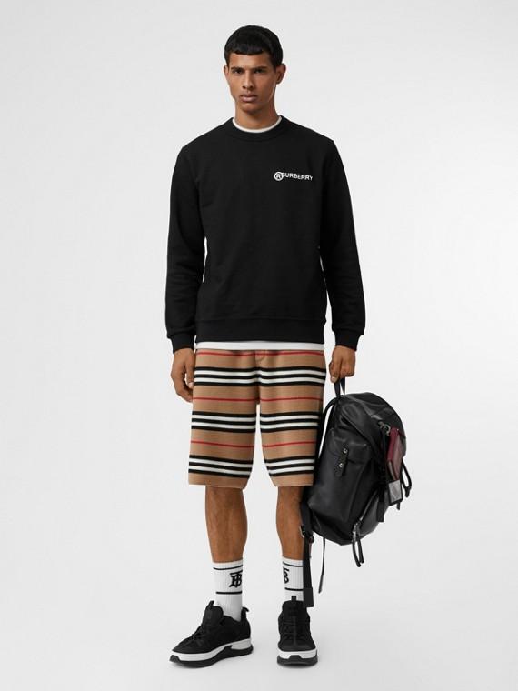 Suéter de algodão com estampa de logo (Preto)