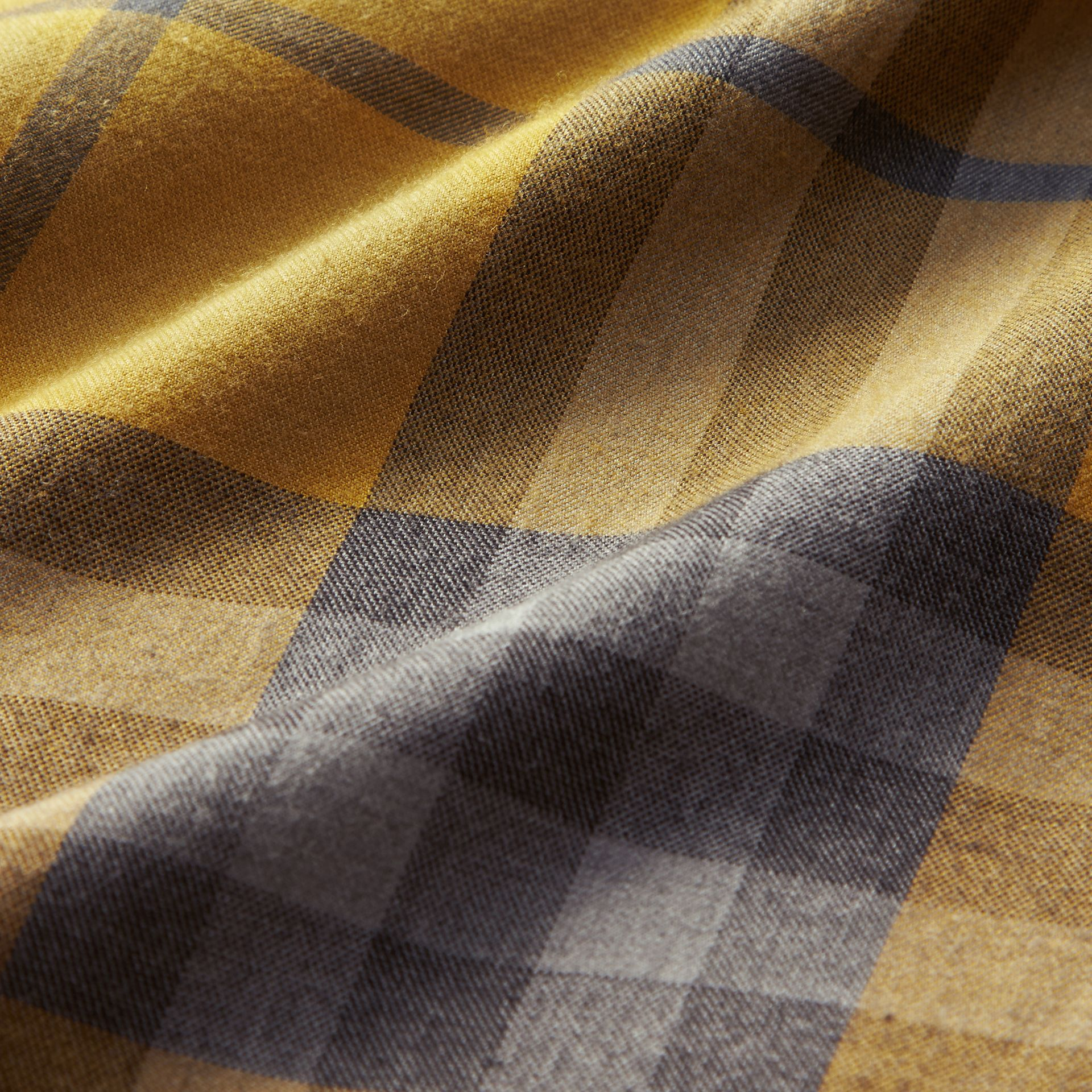 Larch yellow Check Cotton Cashmere Flannel Shirt Larch Yellow - gallery image 2