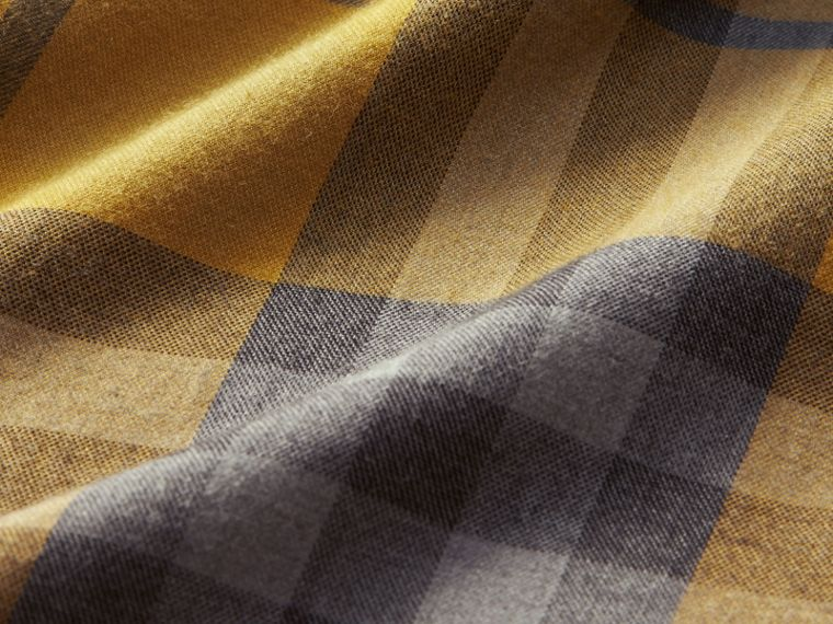 Check Cotton Cashmere Flannel Shirt in Larch Yellow - cell image 1