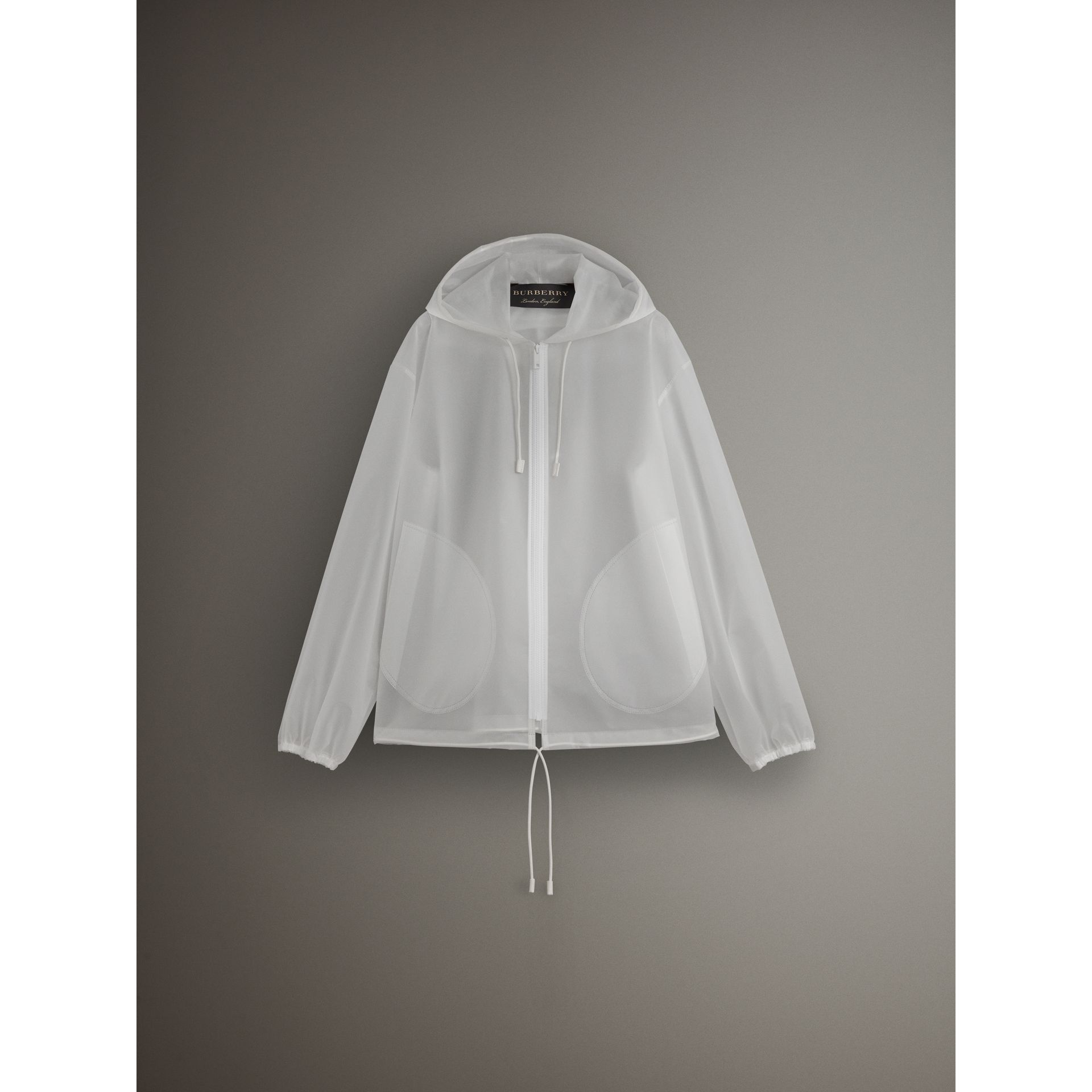 Soft-touch Plastic Cagoule in White - Women | Burberry Canada - gallery image 3
