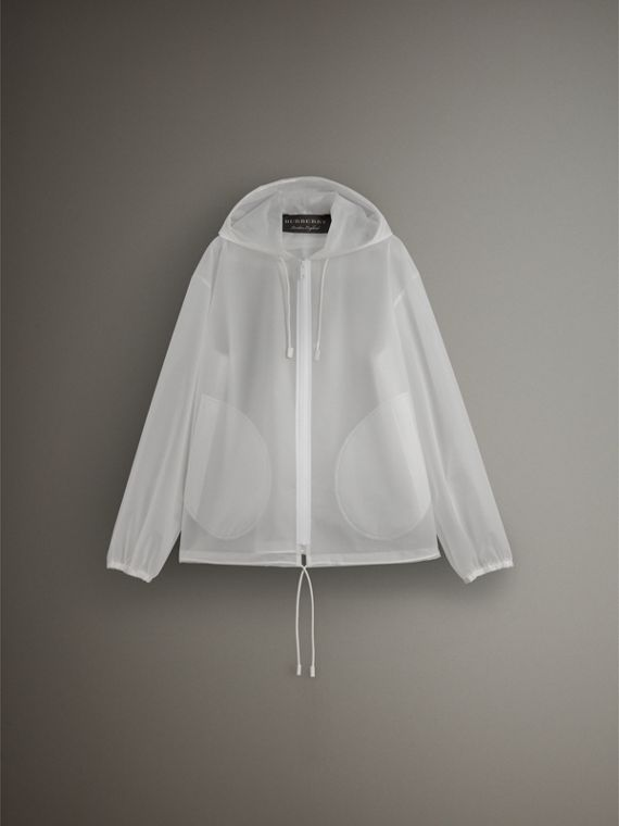 Soft-touch Plastic Cagoule in White - Women | Burberry Singapore - cell image 3
