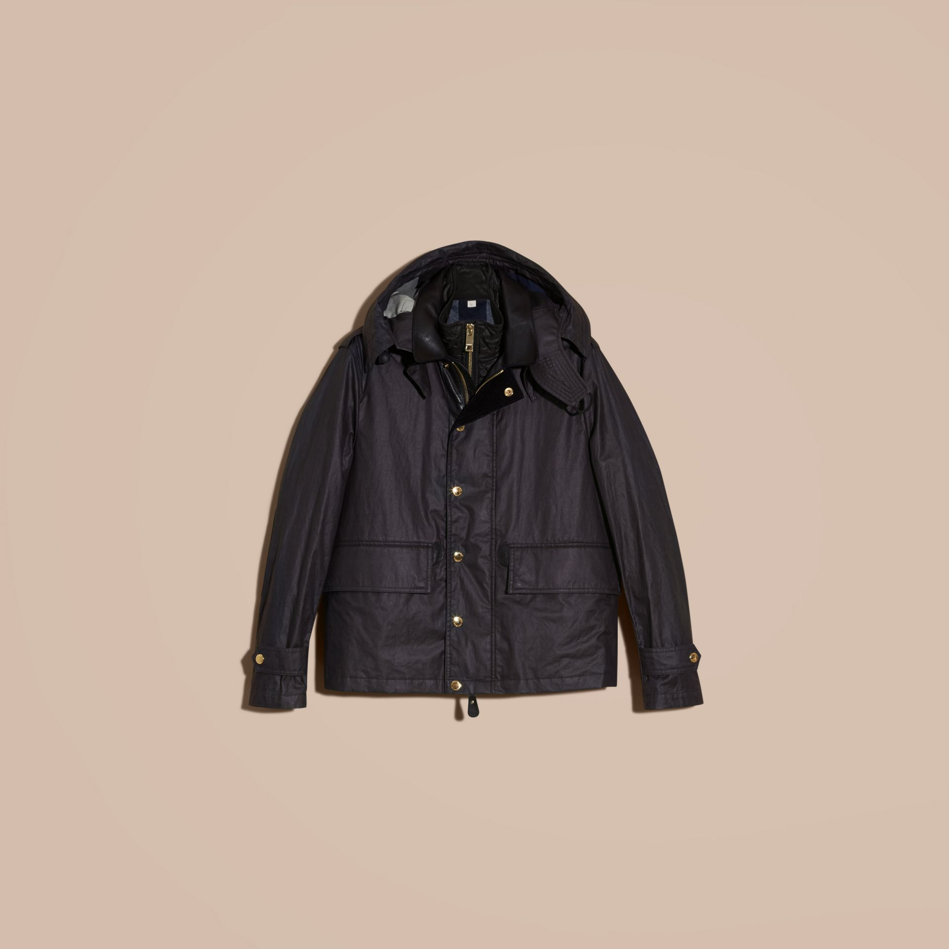 Dark navy Hooded Waxed Cotton Linen Jacket with Detachable Warmer - gallery image 4