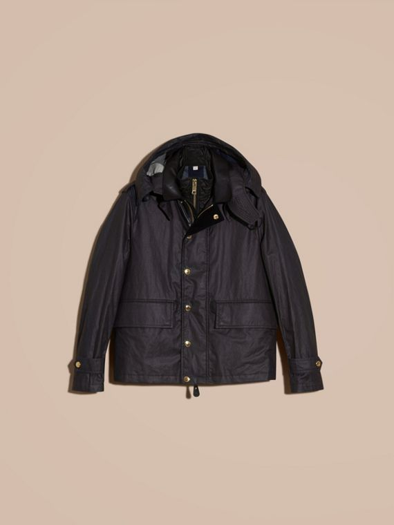 Dark navy Hooded Waxed Cotton Linen Jacket with Detachable Warmer - cell image 3