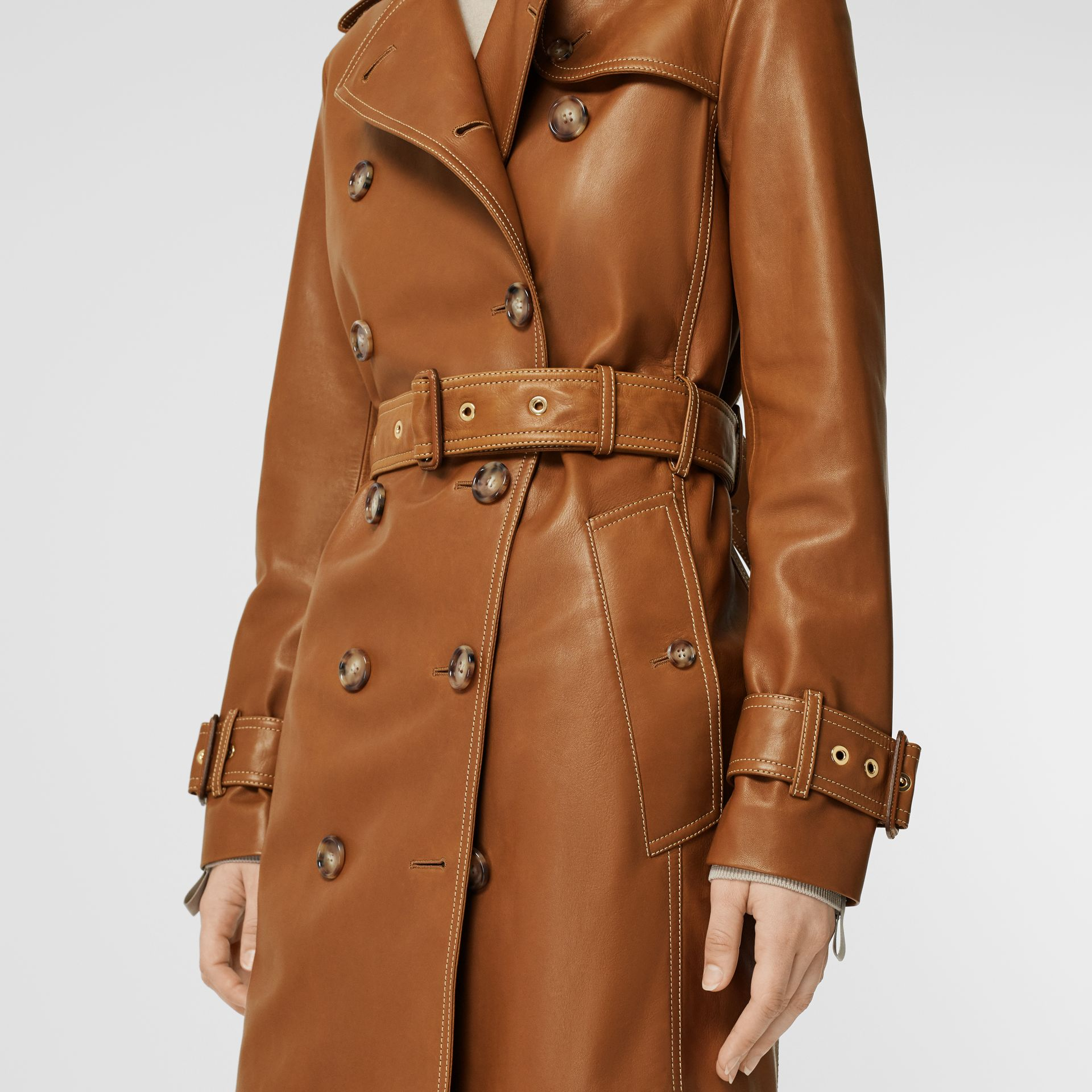 Topstitch Detail Lambskin Trench Coat in Maple - Women | Burberry - gallery image 4