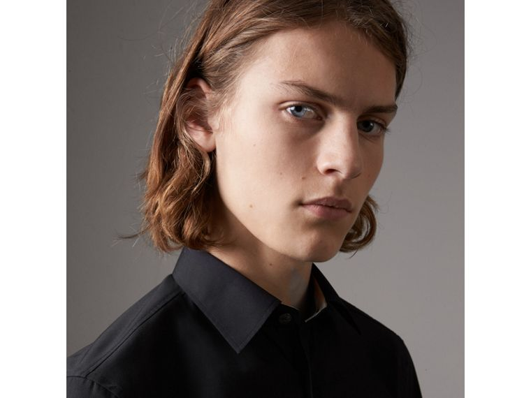Check Detail Stretch Cotton Poplin Shirt in Black - Men | Burberry United Kingdom - cell image 1