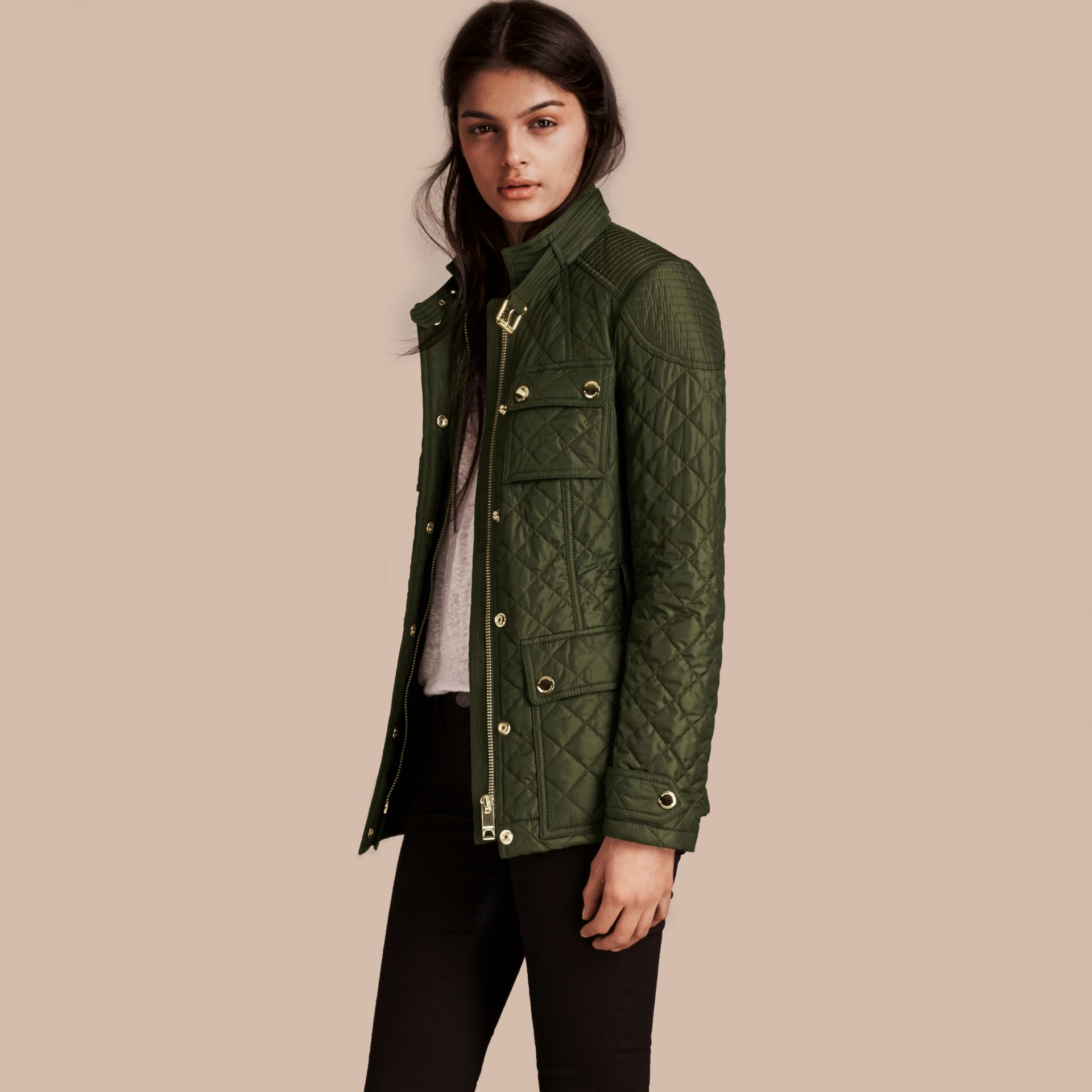 Olive Diamond Quilted Field Jacket with Panel Detail - gallery image 6