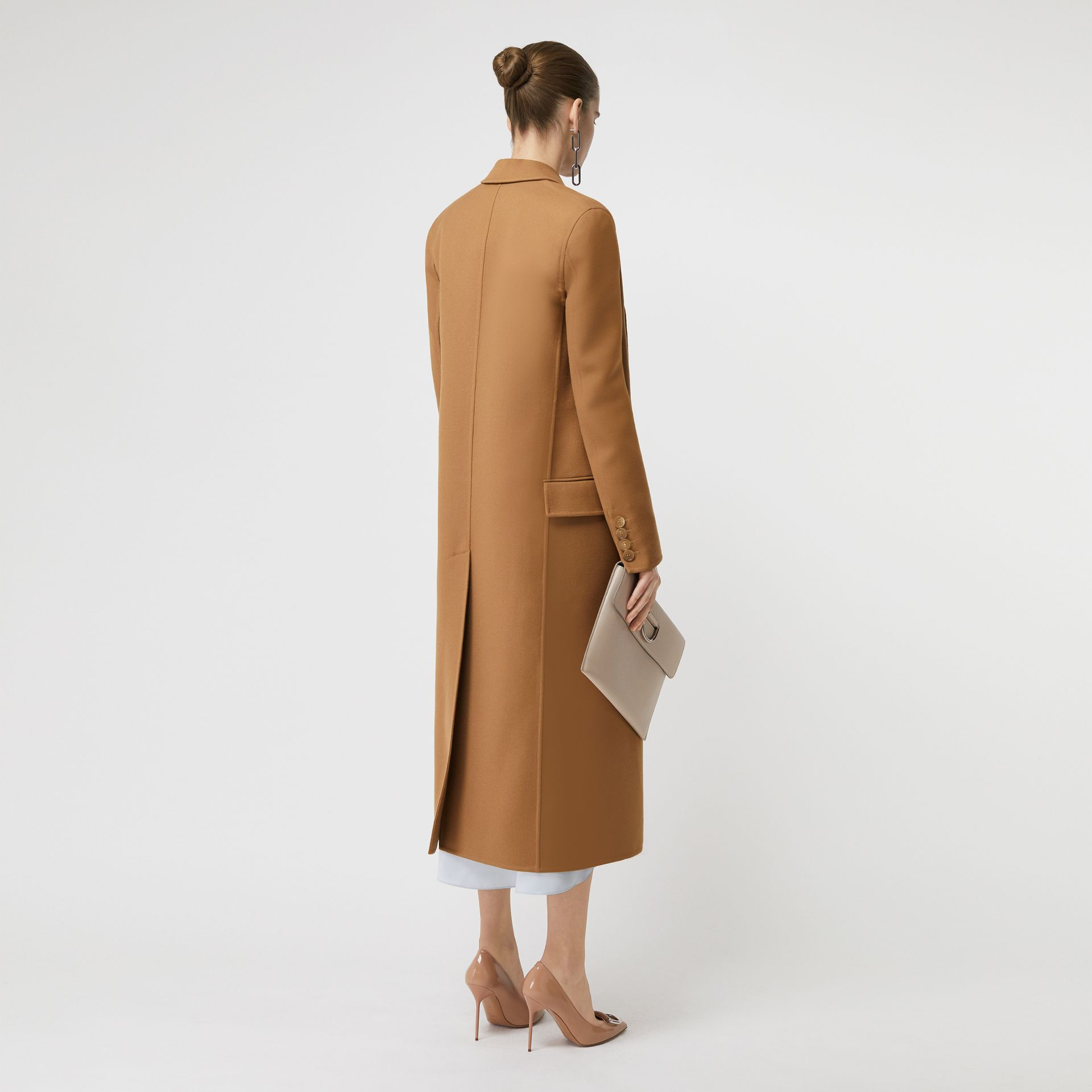 Double-breasted Wool Tailored Coat in Camel - Women | Burberry Singapore - gallery image 2