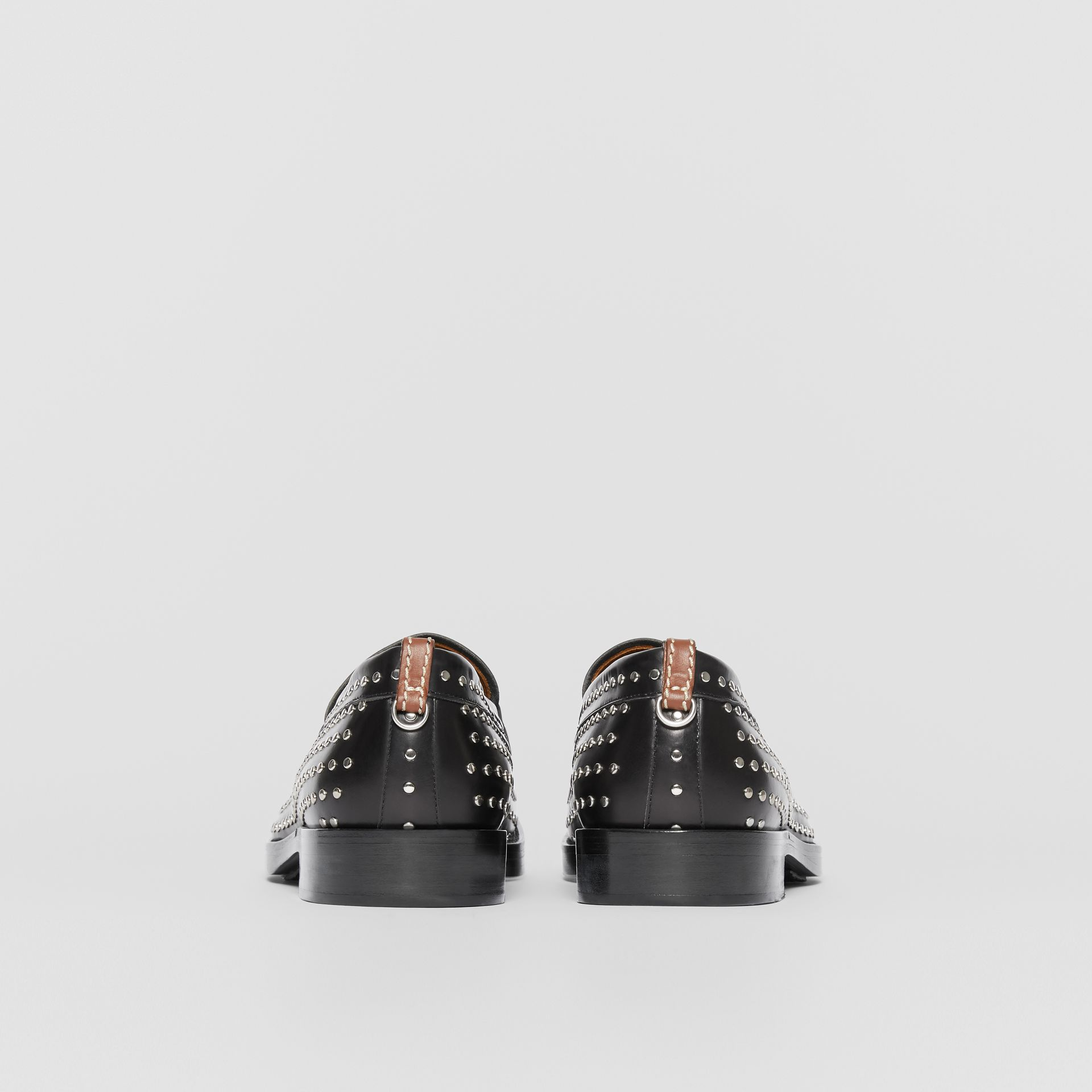 D-ring Detail Studded Leather Loafers in Black - Men | Burberry - gallery image 4