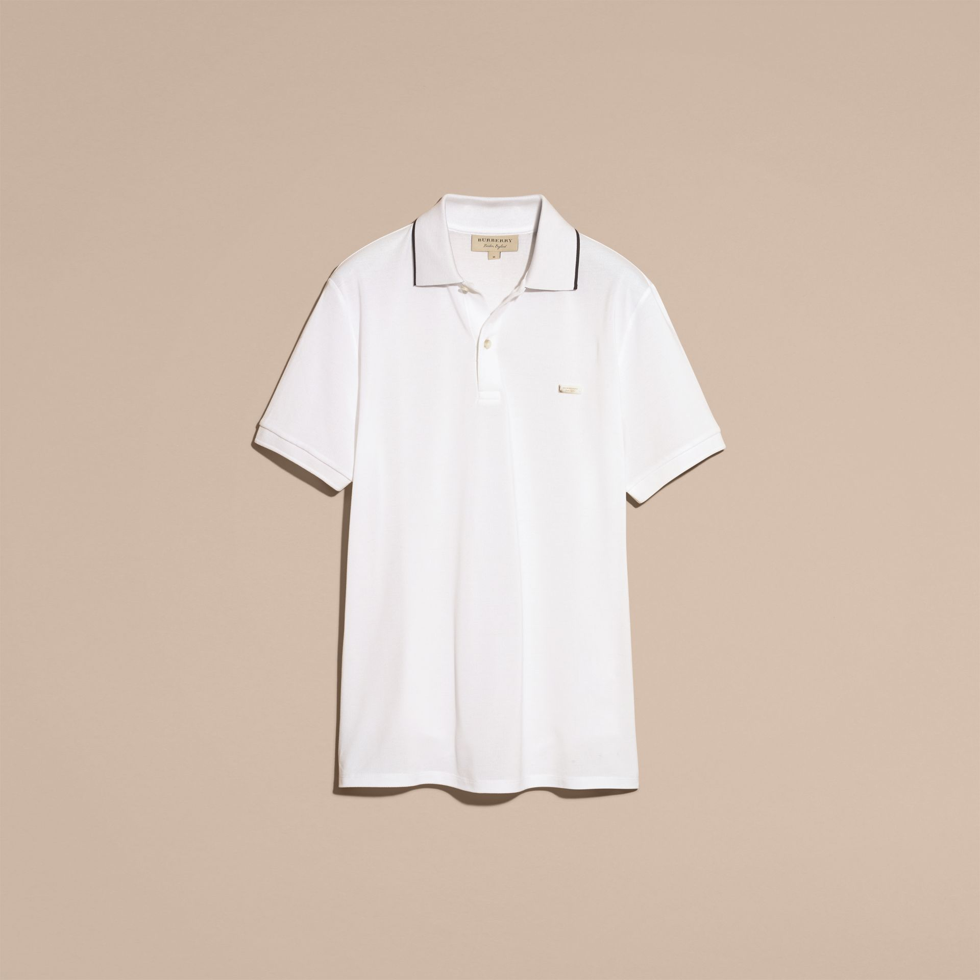 Tipped Collar Cotton Piqué Polo Shirt in White - Men | Burberry - gallery image 4