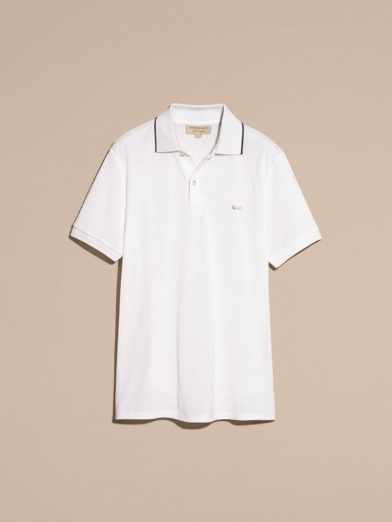 Tipped Collar Cotton Piqué Polo Shirt White - cell image 3