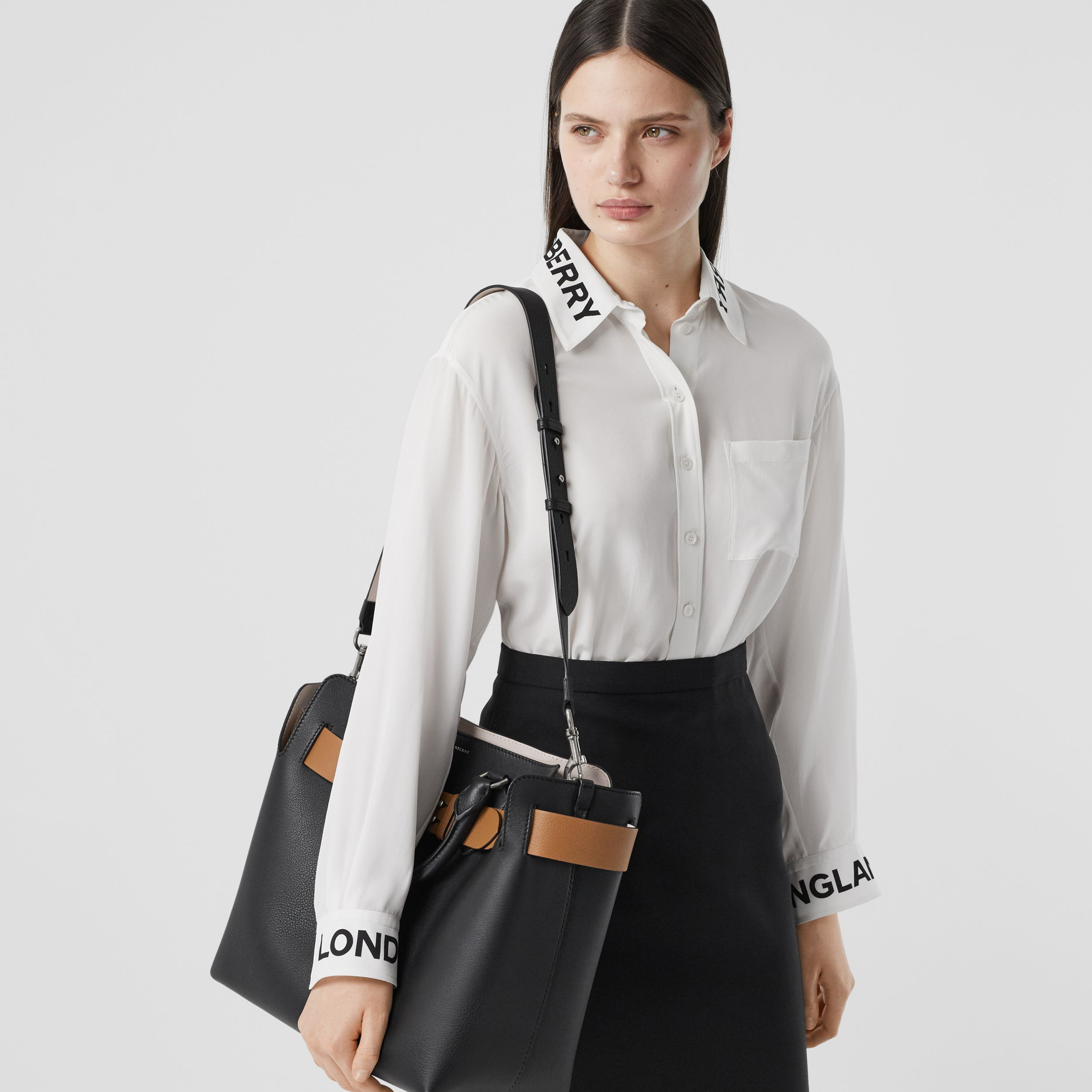 The Medium Leather Belt Bag in Black/tan - Women | Burberry - 3