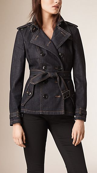 Slim-Fit Denim Trench Jacket
