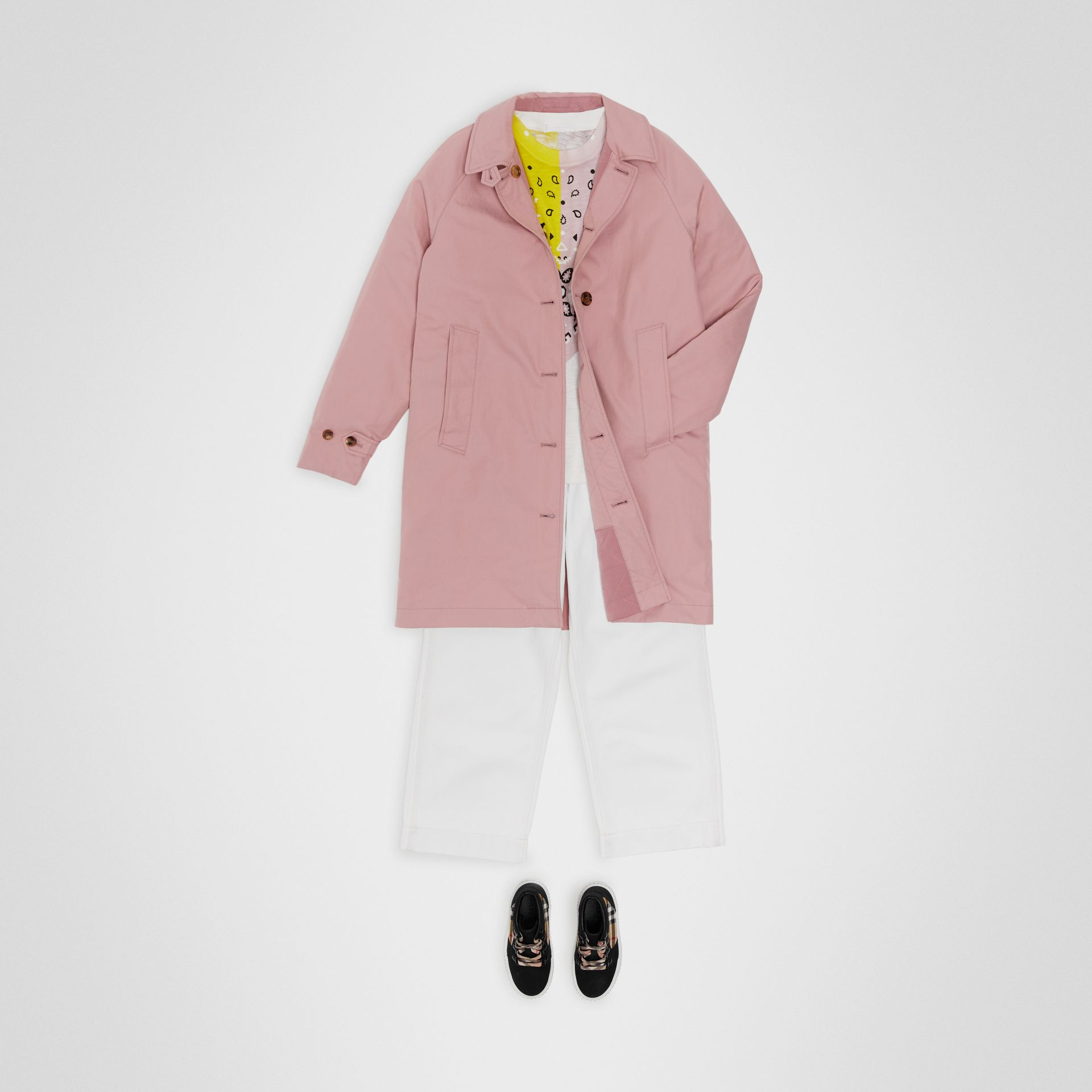 Reversible Tropical Gabardine Car Coat in Chalk Pink | Burberry - gallery image 2