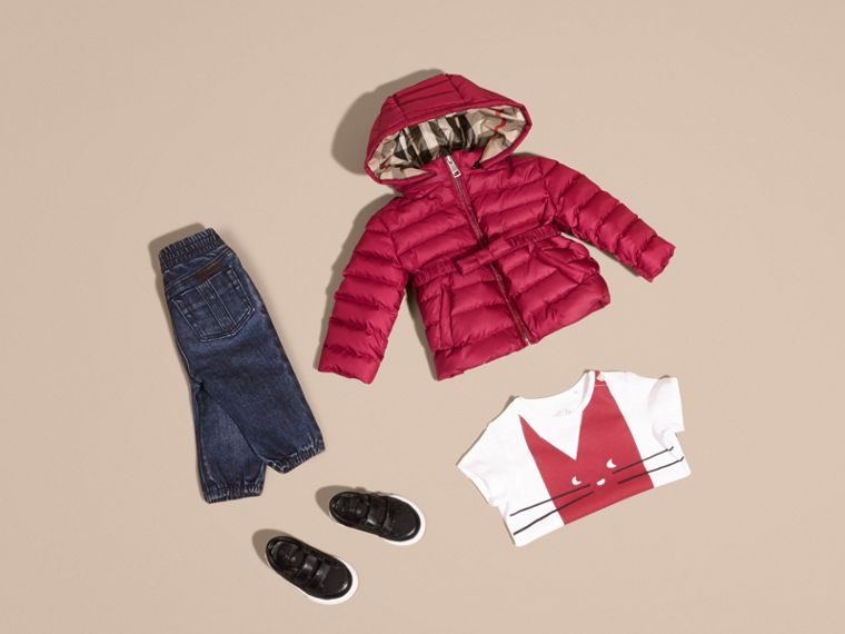 Dark plum pink Bow Detail Puffer Jacket - cell image 4