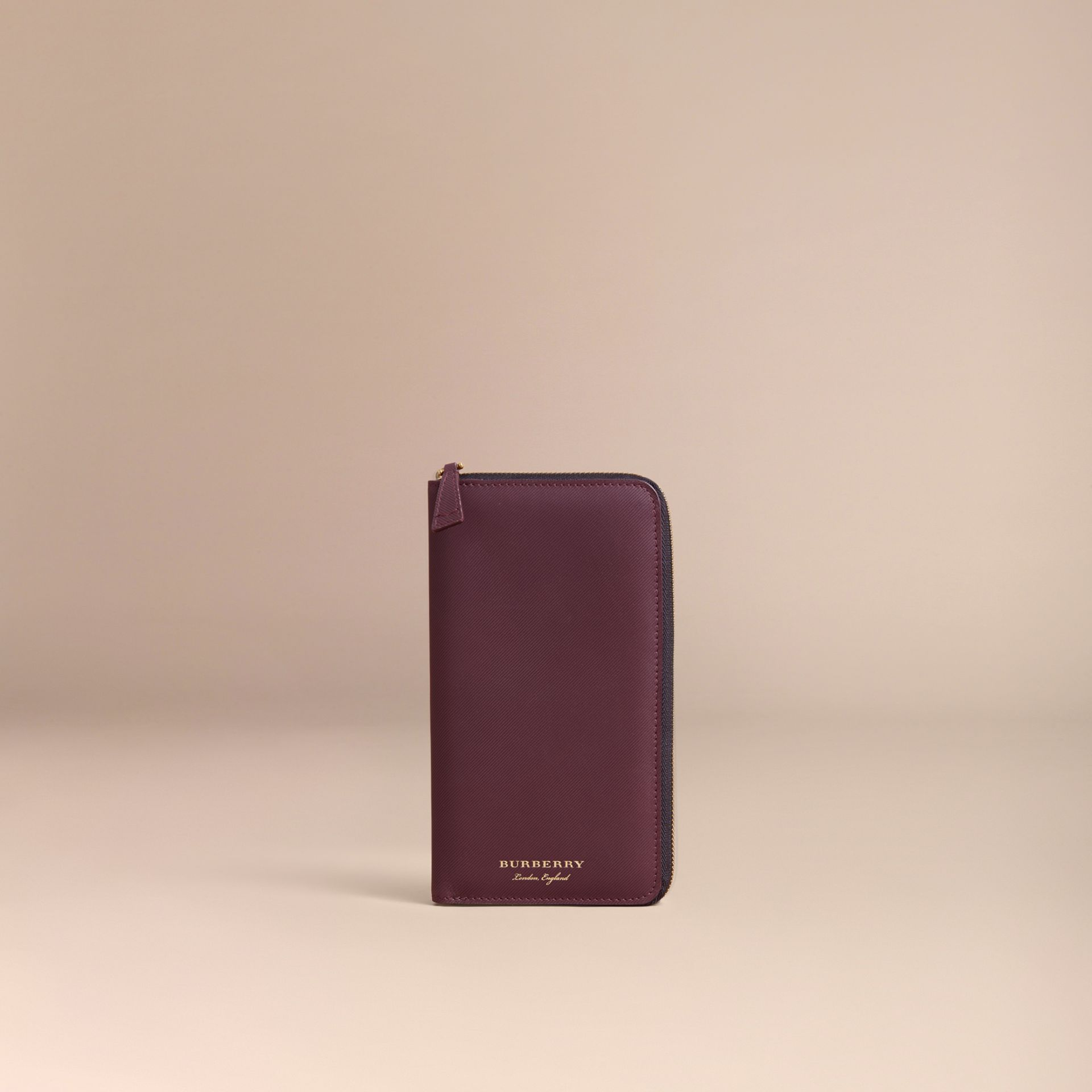 Trench Leather Ziparound Wallet in Wine - Men | Burberry Australia - gallery image 6