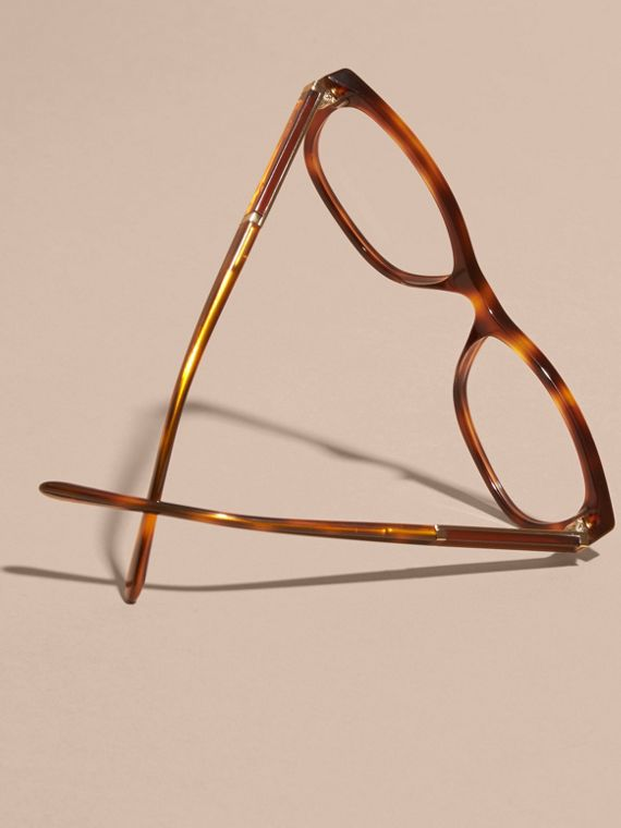 Check Detail Oval Optical Frames Light Russet Brown - cell image 3