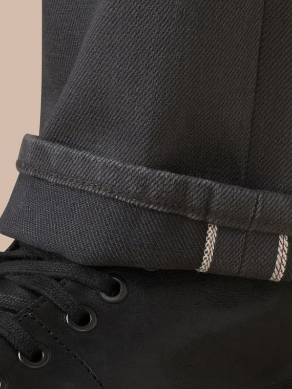 Storm grey Straight Fit Japanese Selvedge Denim Jeans - cell image 3