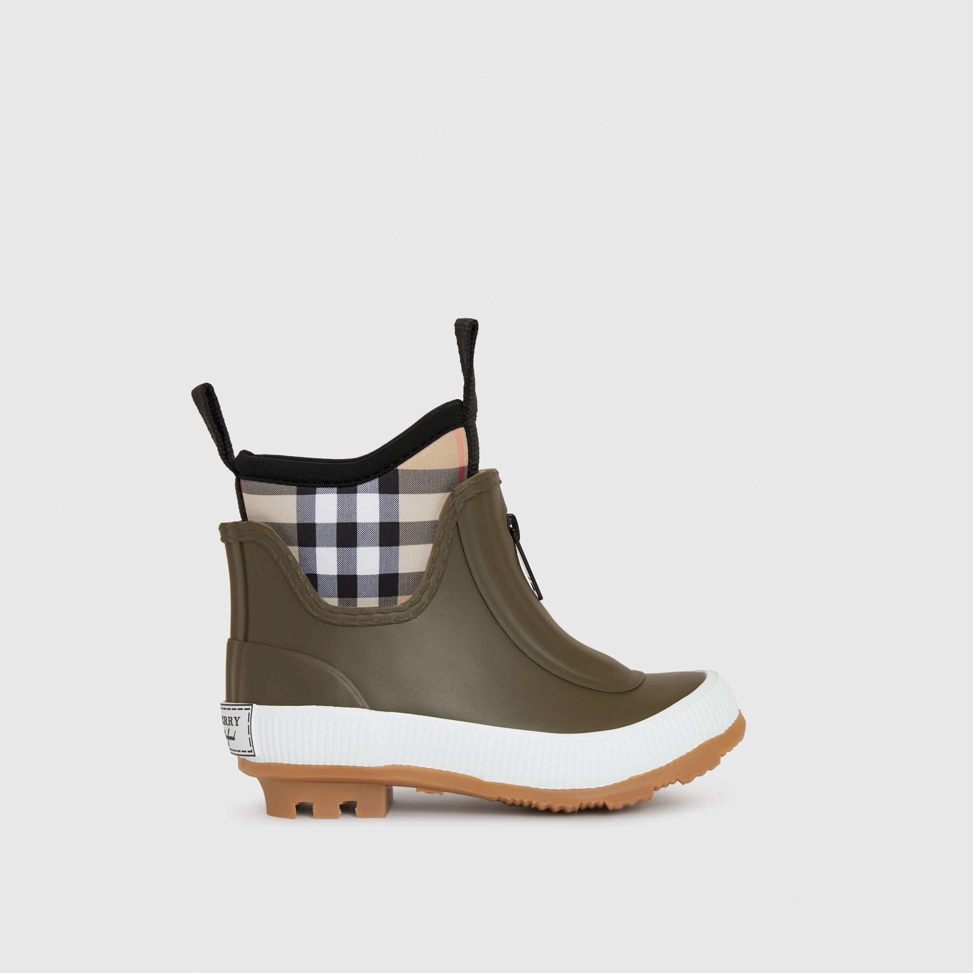 Vintage Check Neoprene and Rubber Rain Boots in Military Green - Children | Burberry Hong Kong - gallery image 3