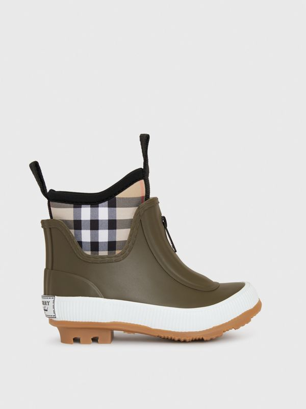 Vintage Check Neoprene and Rubber Rain Boots in Military Green - Children | Burberry Australia - cell image 3