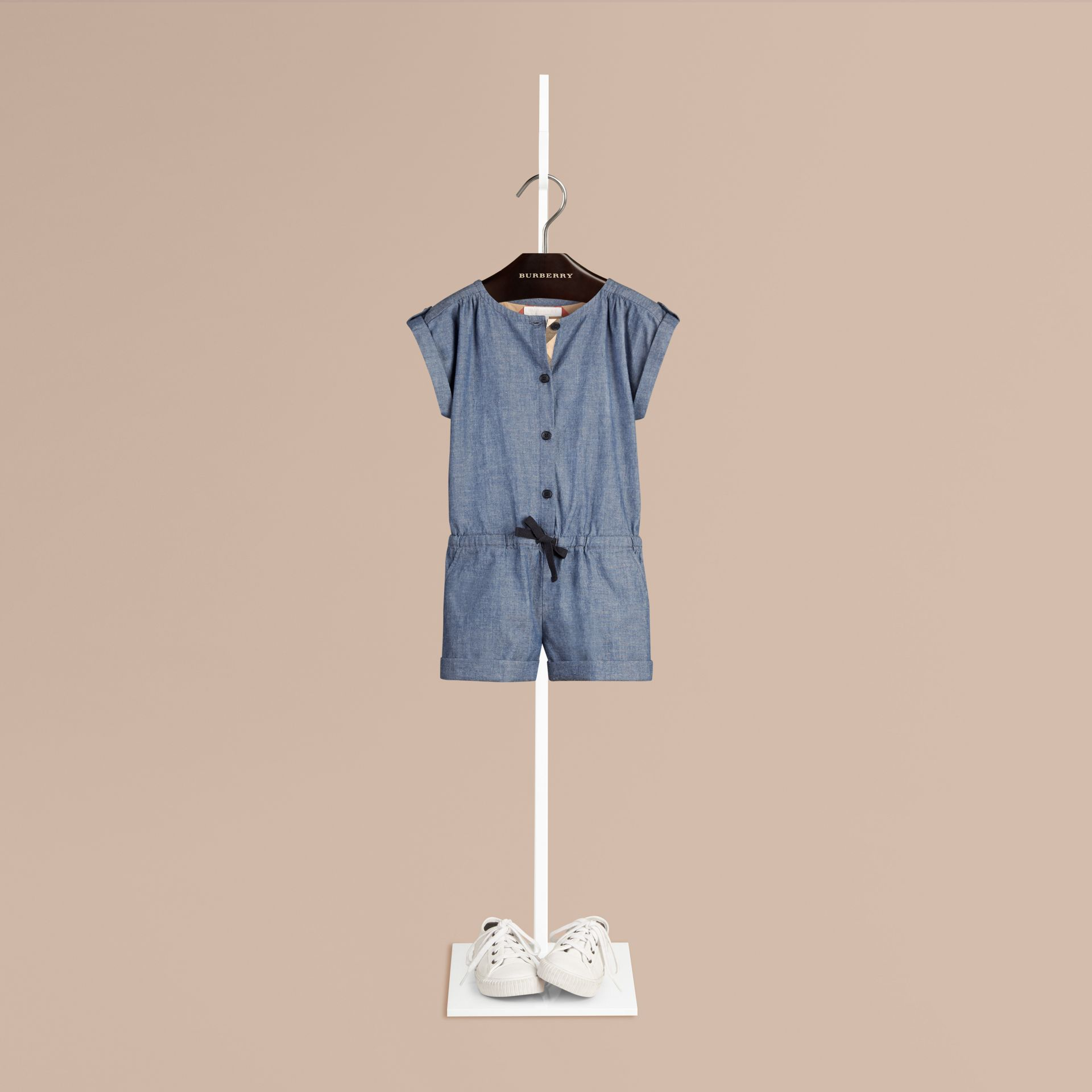 Stone blue Check Placket Cotton Playsuit - gallery image 1