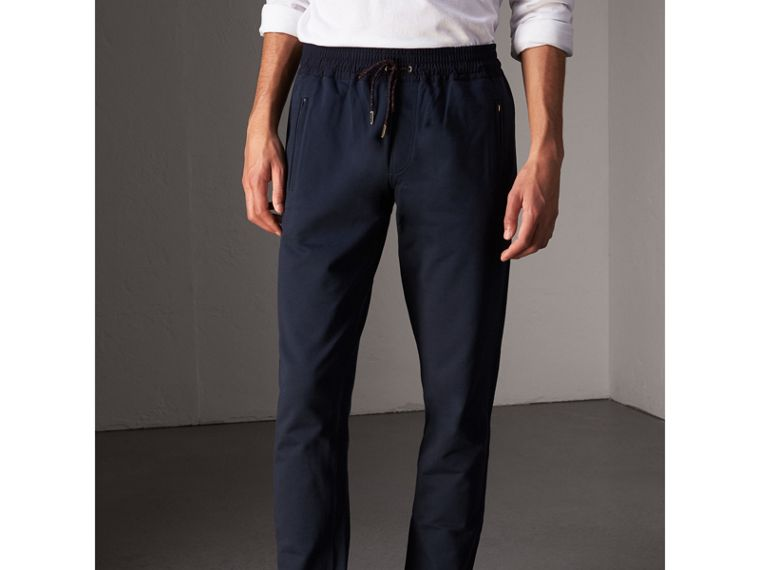 Cotton Sweatpants in Navy - Men | Burberry - cell image 4
