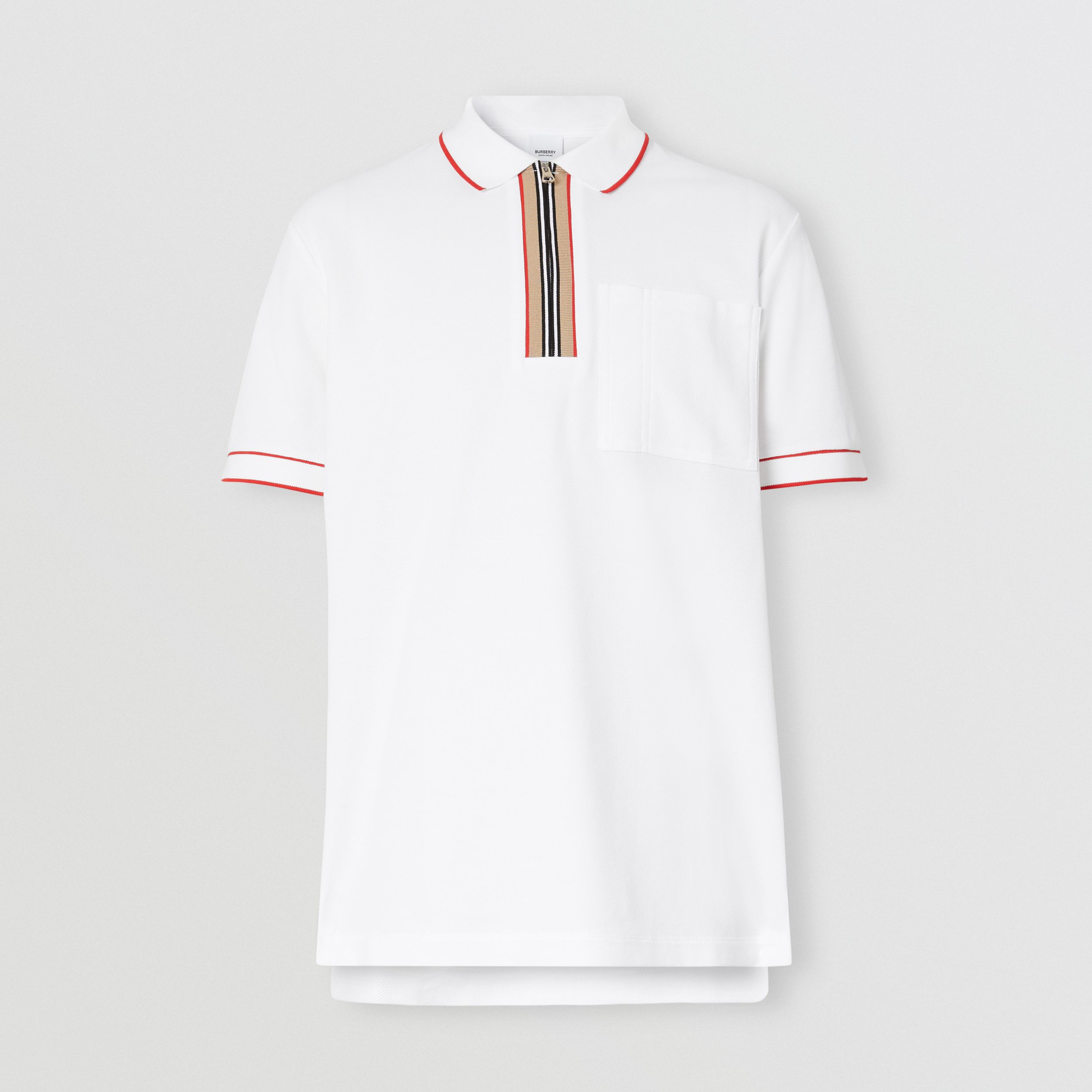 Icon Stripe Detail Cotton Zip-front Polo Shirt in White - Men | Burberry - 4