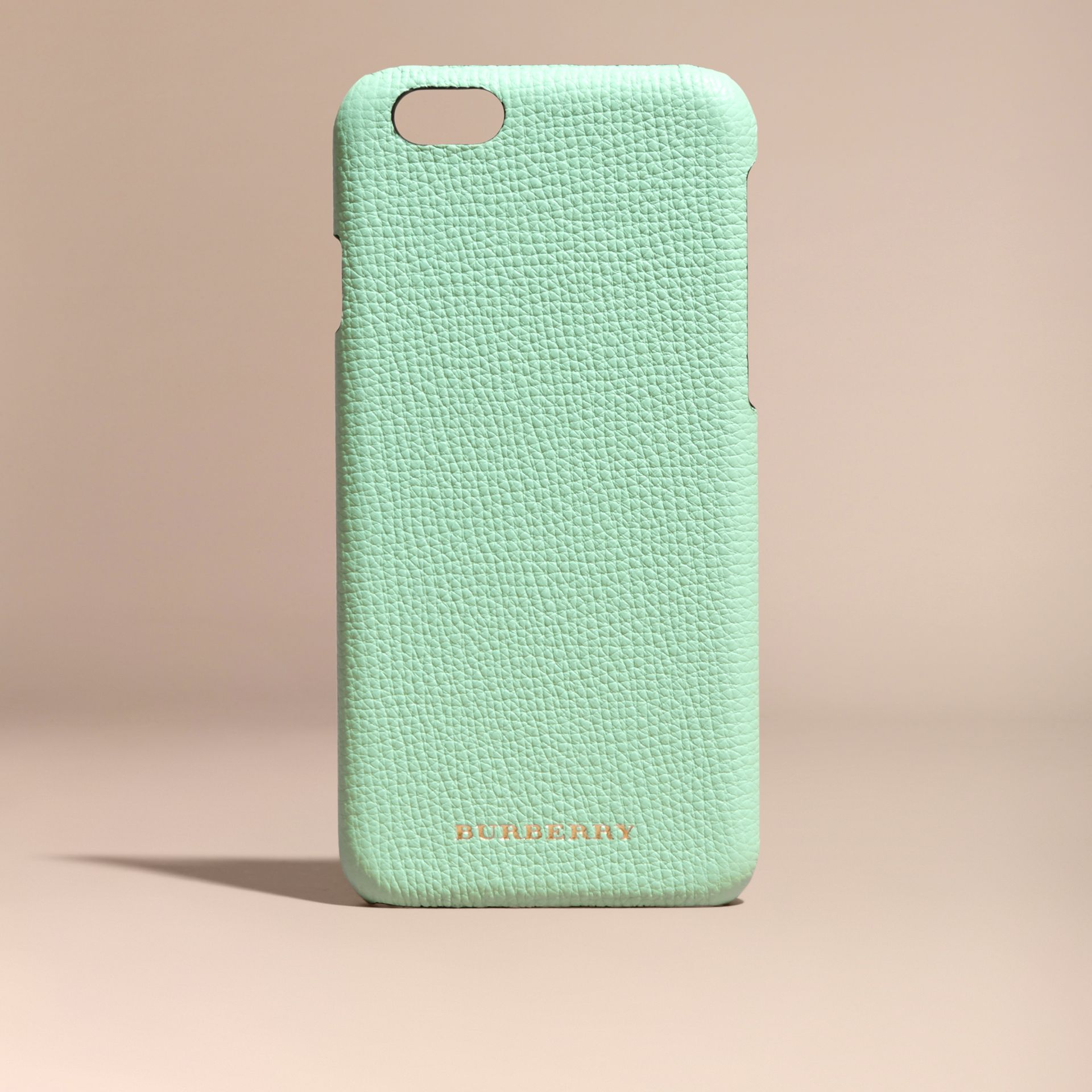 Grainy Leather iPhone 6 Case in Light Mint | Burberry - gallery image 5