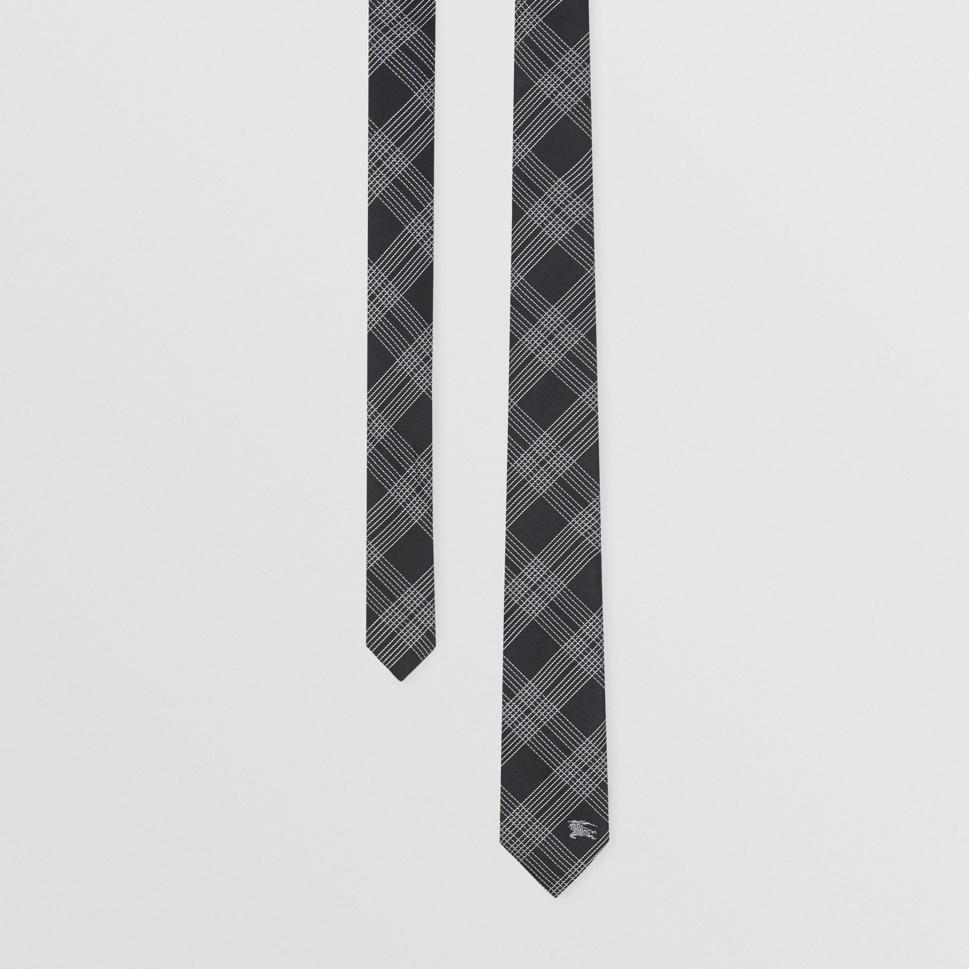 Modern Cut Check Silk Jacquard Tie in Black - Men | Burberry - gallery image 0