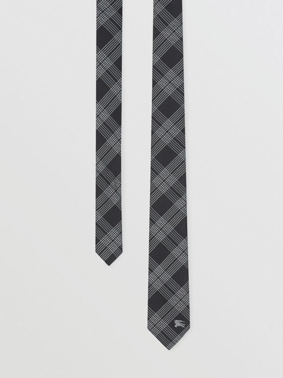 Modern Cut Check Silk Jacquard Tie in Black