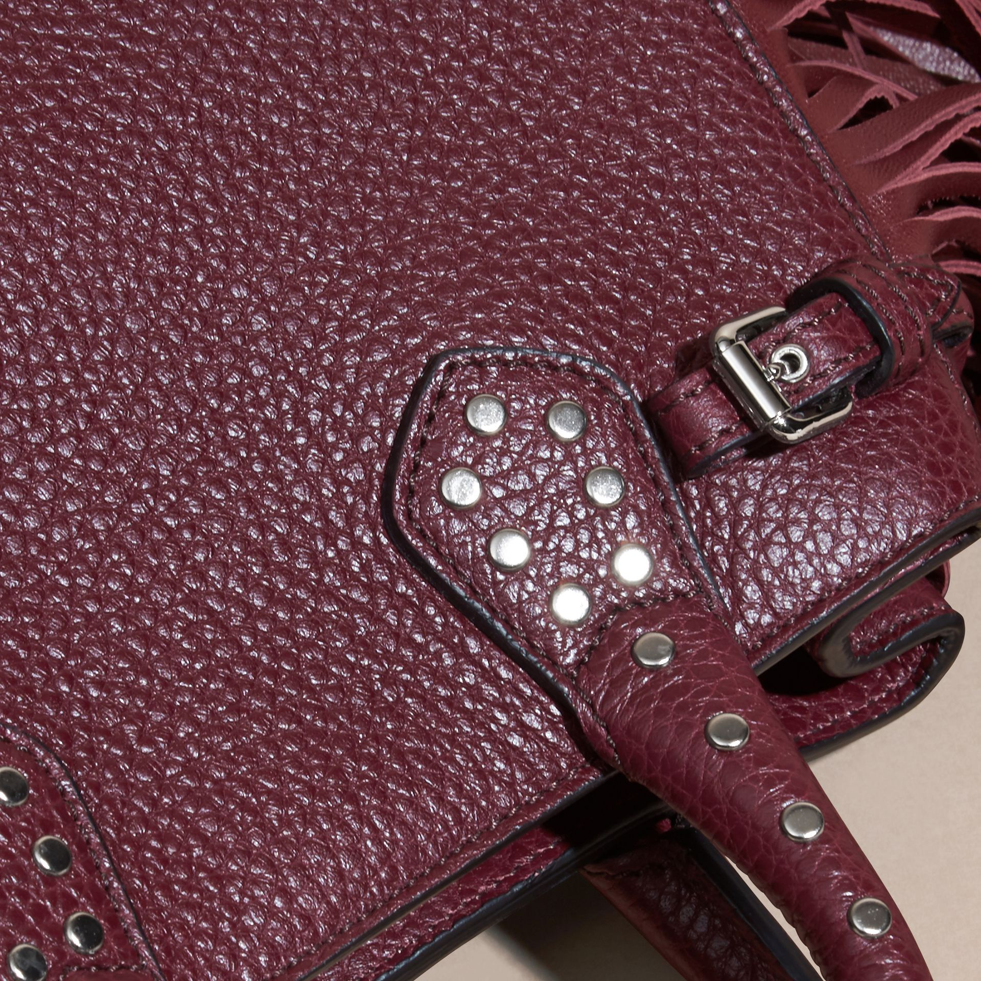 Dark damson The Baby Banner in Fringed Grainy Leather Dark Damson - gallery image 2