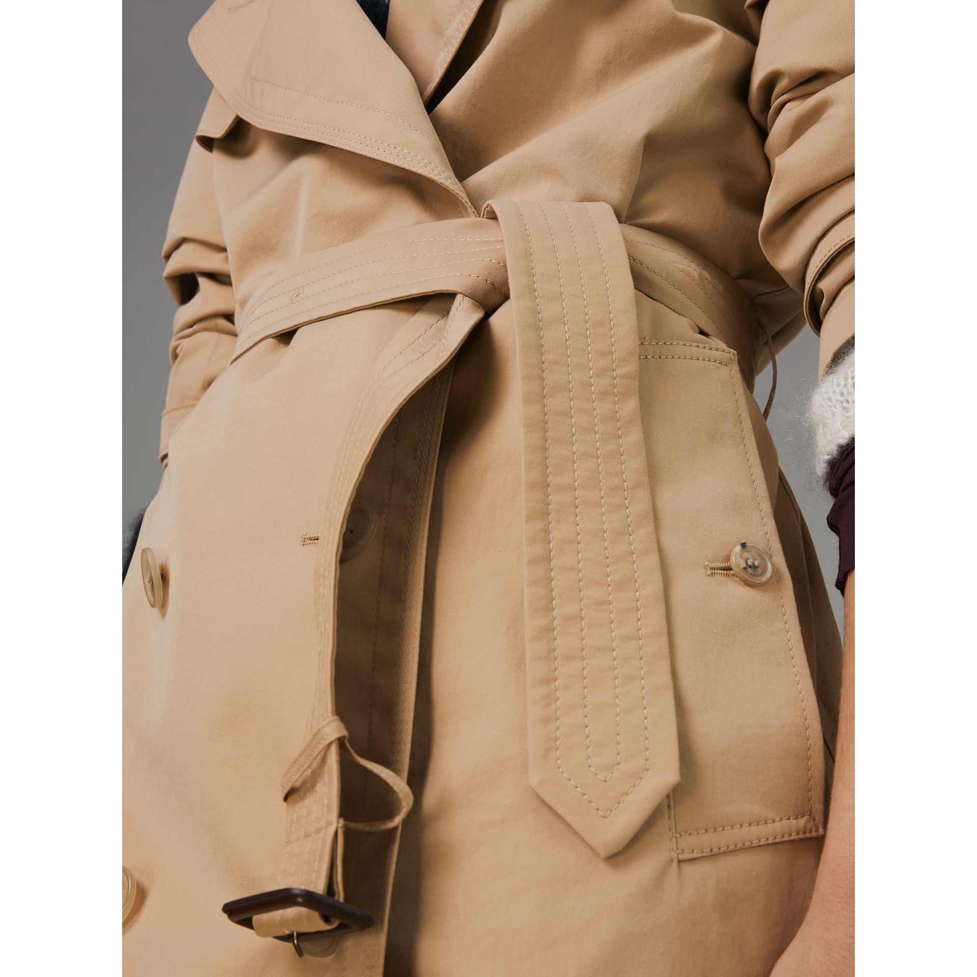 Scarf-print-lined Tropical Gabardine Trench Coat in Honey - Women | Burberry - gallery image 1