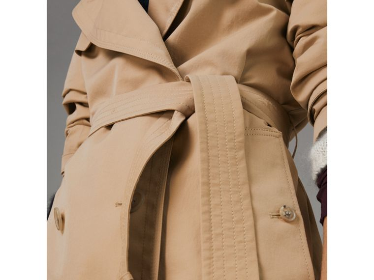 Scarf-print-lined Tropical Gabardine Trench Coat in Honey - Women | Burberry - cell image 1