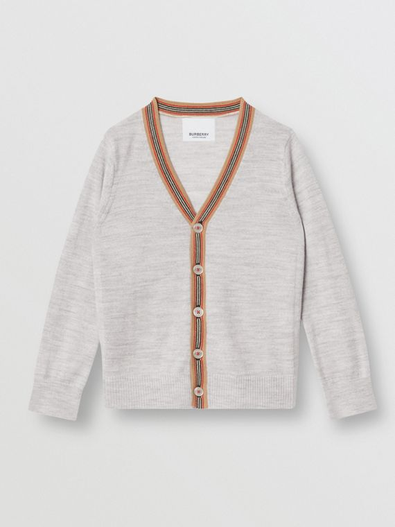 Icon Stripe Detail Merino Wool Cardigan in Light Grey Melange