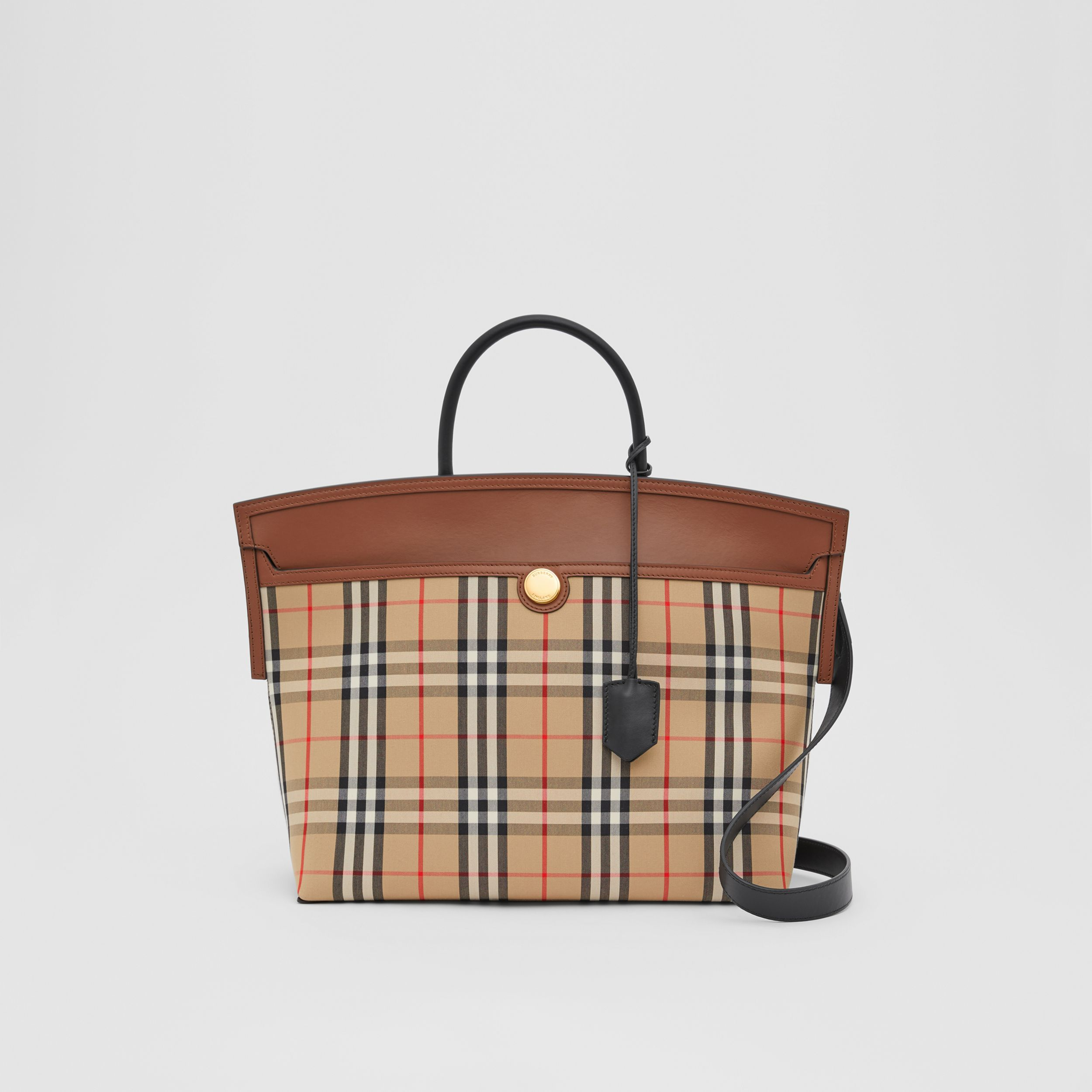 Vintage Check and Leather Society Top Handle Bag in Archive Beige/tan - Women | Burberry - 1