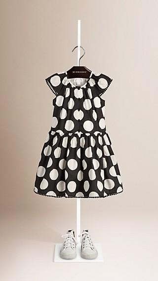 Pom-pom Detail Dot Print Cotton Dress