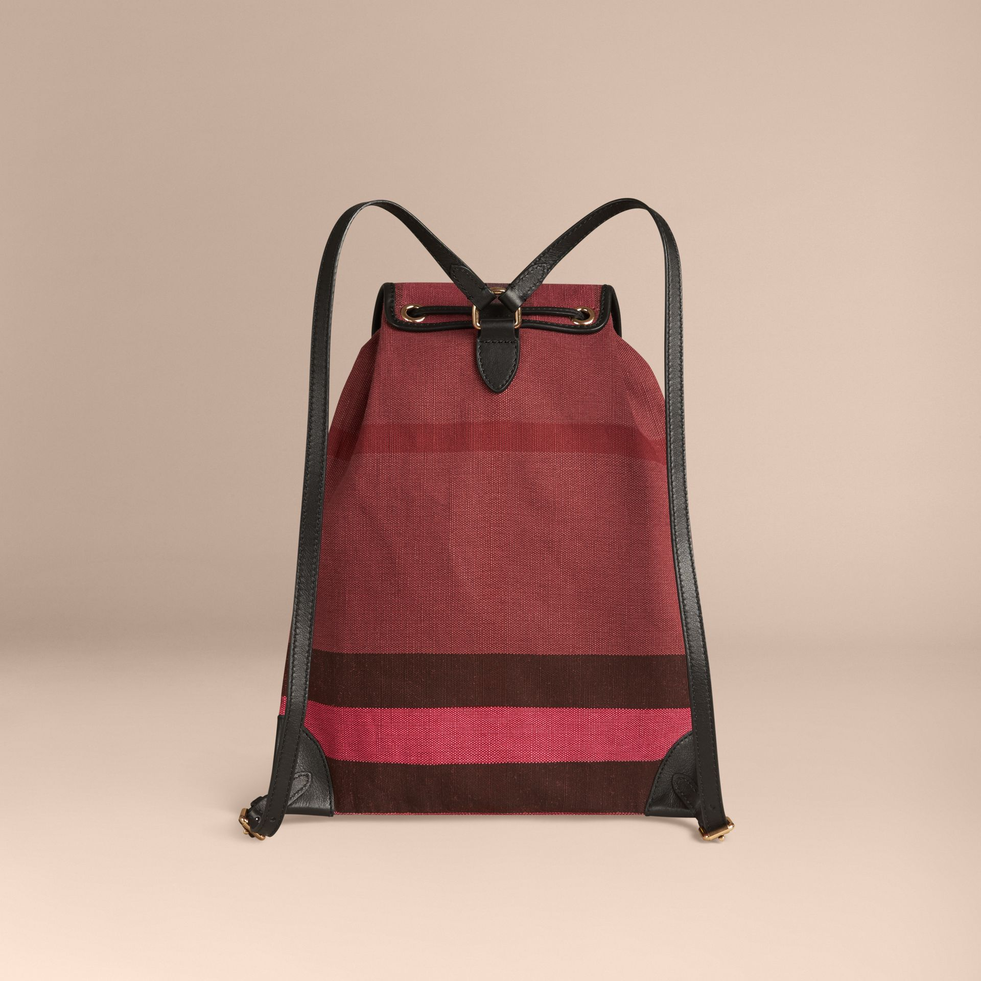 Plum Overdyed Canvas Check Backpack Plum - gallery image 2