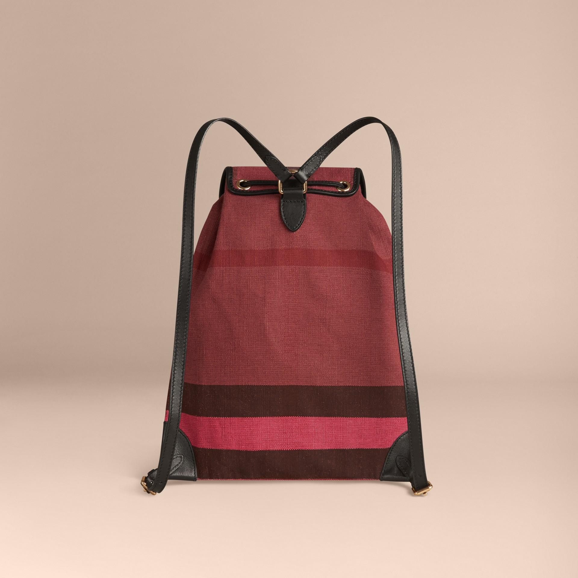 Pflaumenfarben Rucksack mit überfärbtem Canvas Check-Muster Pflaumenfarben - Galerie-Bild 2