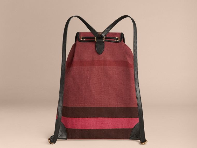 Plum Overdyed Canvas Check Backpack Plum - cell image 1