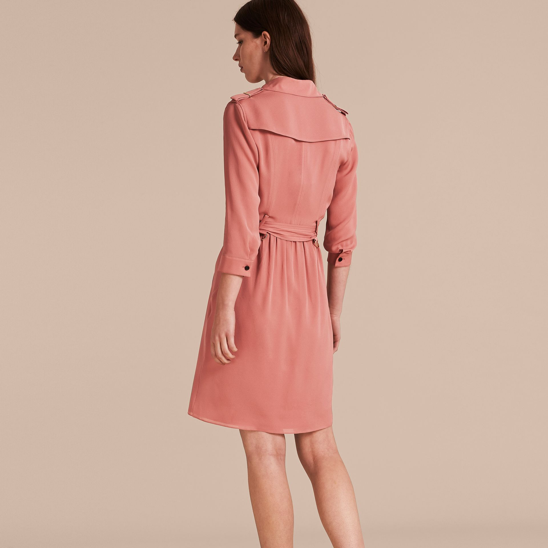 Silk Trench Dress Light Copper Pink - gallery image 3