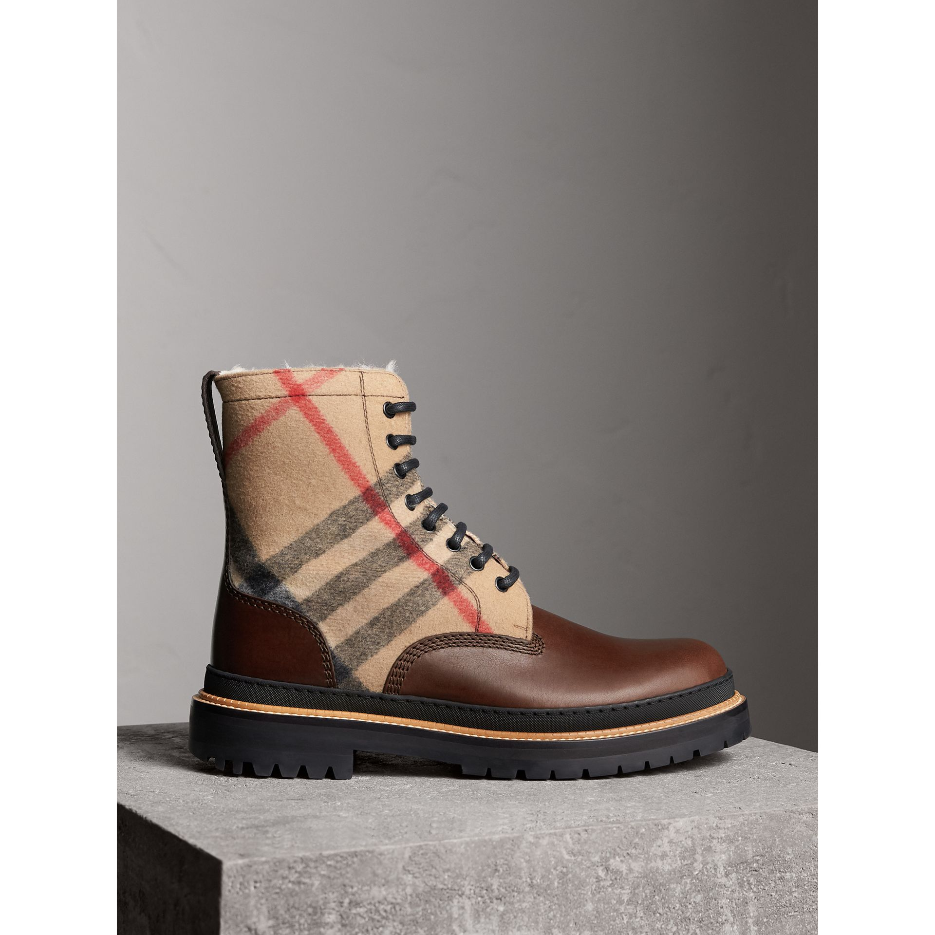 Shearling-lined Leather and Check Boots in Mid Camel - Men | Burberry Hong Kong - gallery image 1