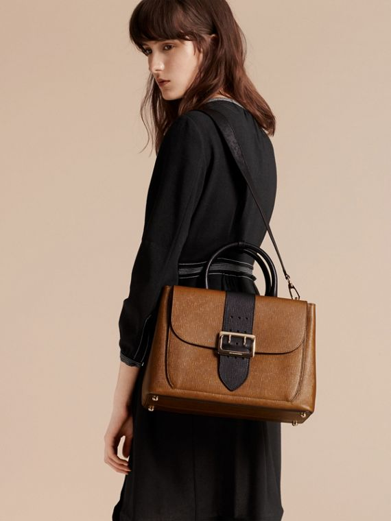 Tan The Medium Saddle Bag in Textured Bonded Leather - cell image 2