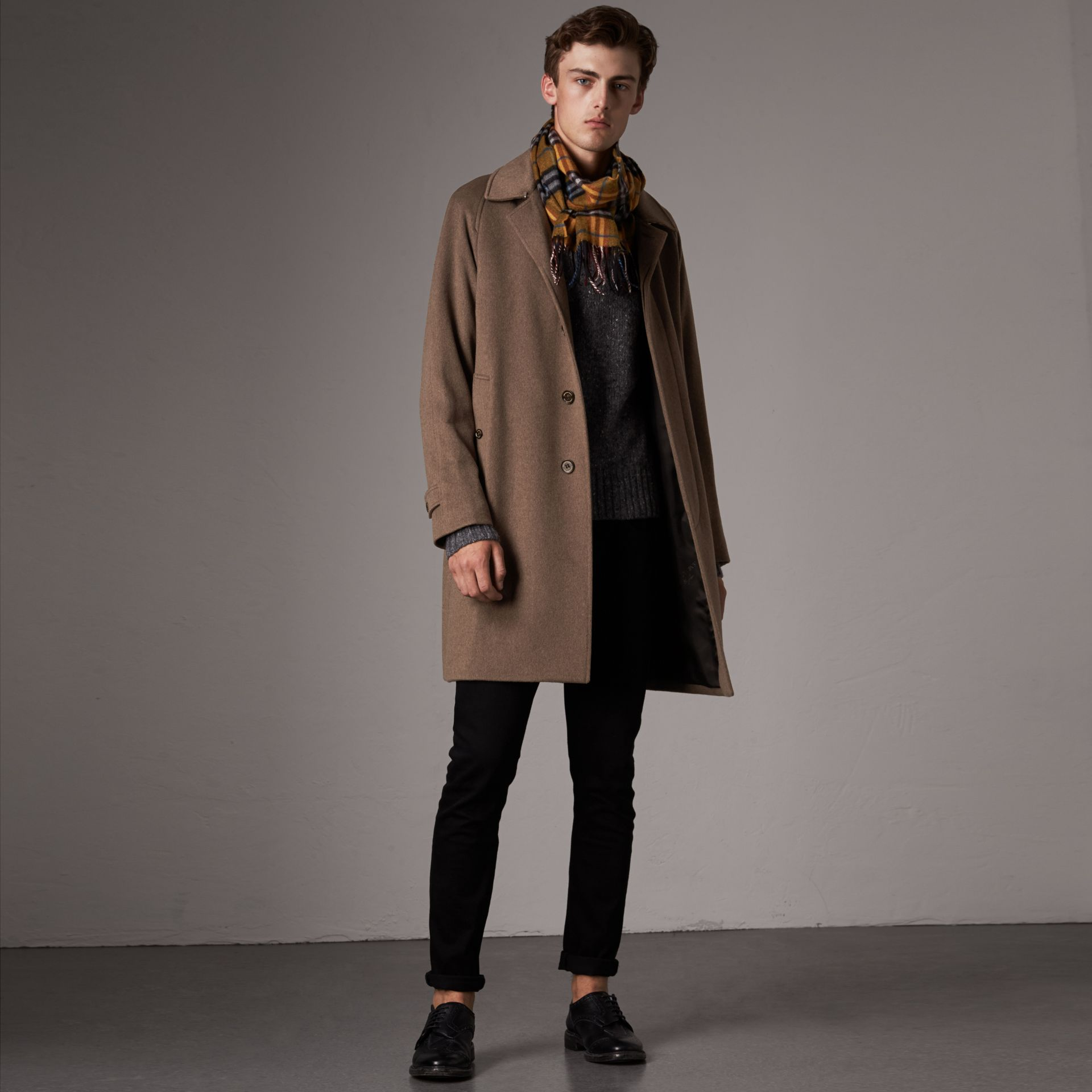 Cashmere Car Coat in Deep Taupe Melange - Men | Burberry - gallery image 0