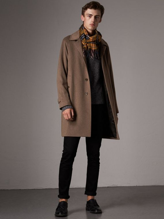 Cashmere Car Coat in Deep Taupe Melange